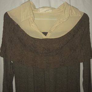 CLASSY BROWN AND TAN LACE SHIRT. SIZE SMALL.